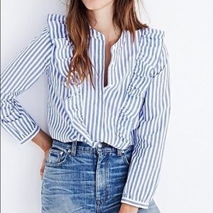 MADEWELL Blue & White Striped Ruffle Button-up